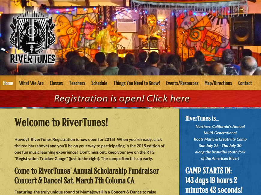 RiverTunes Music Camp website